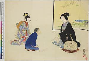 TASAHI-10200205-01 息子娘に読み聞かせる母 桐火鉢・『』