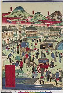 arcUP8161(「摂州 神戸海岸繁栄之図」「三枚続」) 「有馬」「六甲山」「摩耶山」・・『』