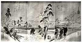 BN03828992-1-24天保・広重〈1〉「江都名所」 「隅田川雪見之図三枚続」
